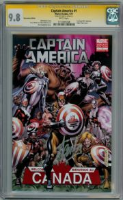 Captain America #1 Canada Fan Expo Variant CGC 9.8 Signature Series Signed Stan Lee Marvel comic